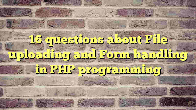 16 questions about File uploading and Form handling in PHP programming