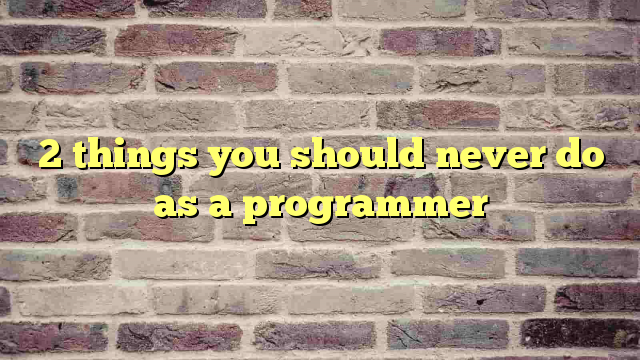2 things you should never do as a programmer