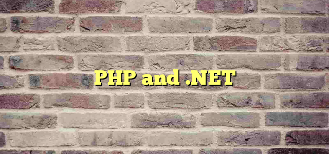 PHP and .NET