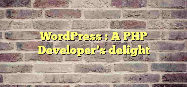 WordPress : A PHP Developer's delight